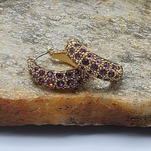 Vtg Monet Purple Rhinestone Earrings
